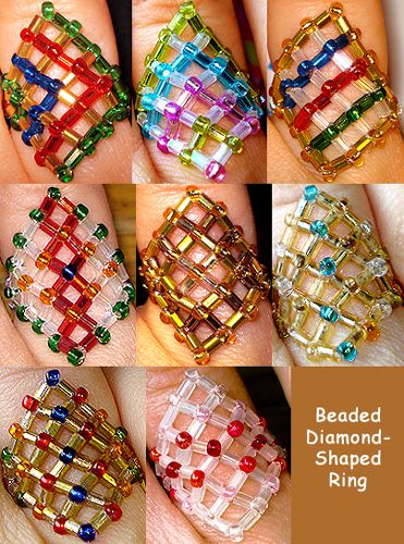 Beaded Diamond-Shaped Ring