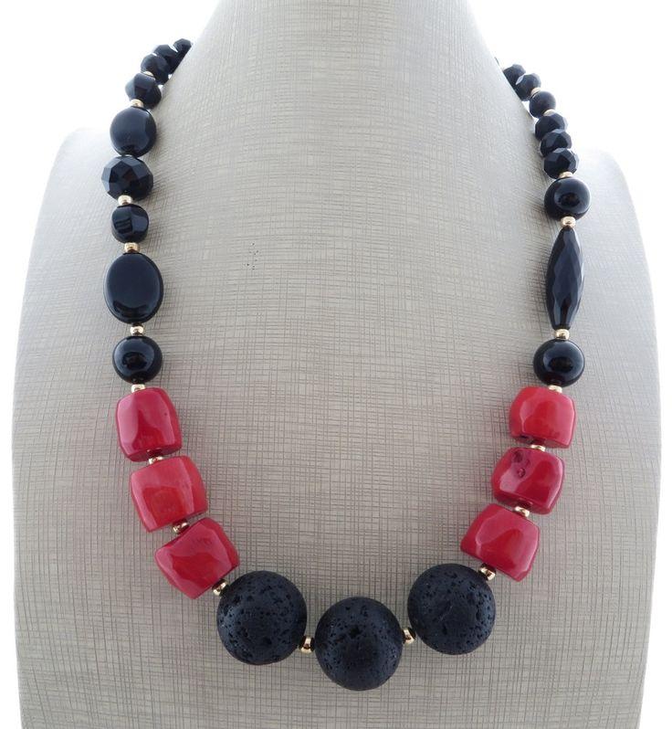 Statement Necklace Black Onyx Necklace Rock Beaded