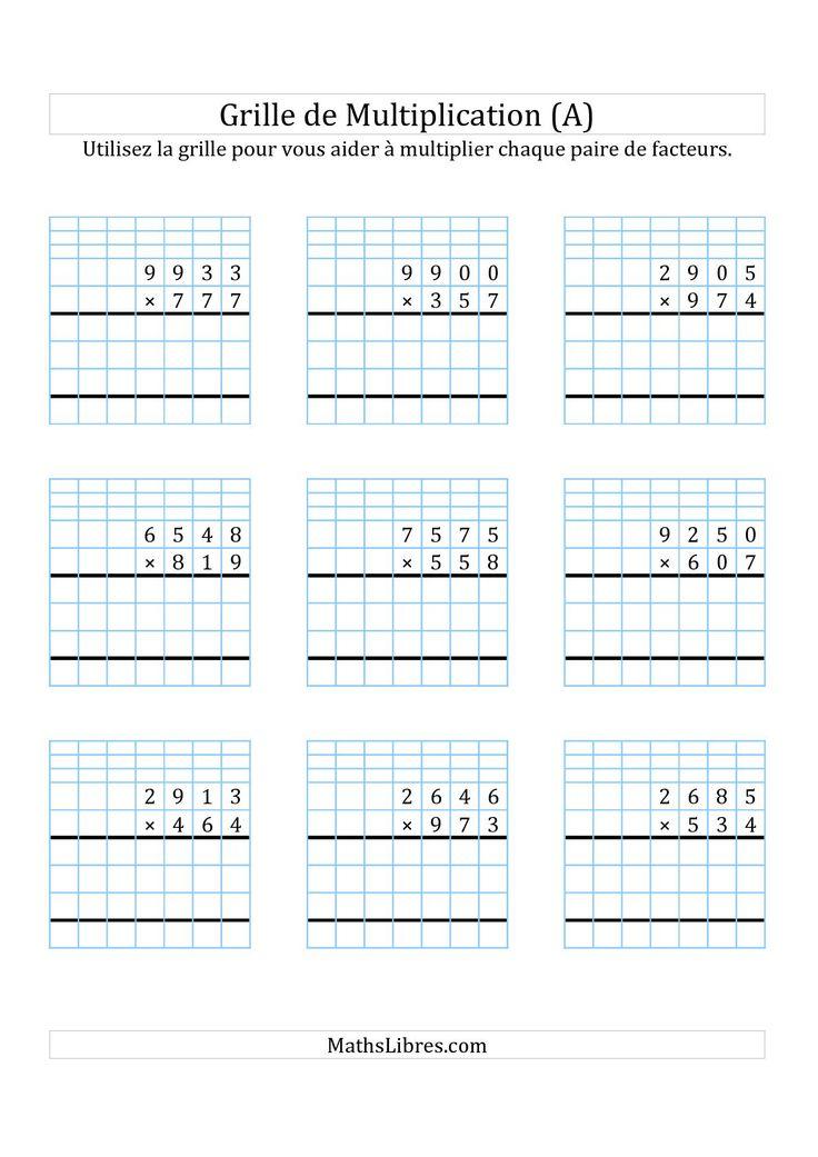 Multiplication de Nombres à 4 Chiffres par des Nombres à 3 Chiffres (A) Fiches d'Exercices sur ...