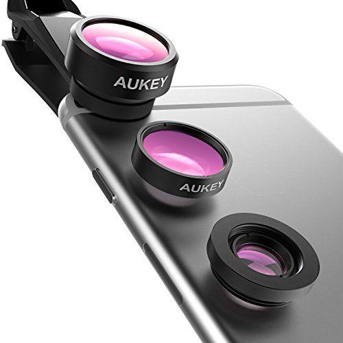 cool AUKEY Lentes para Móviles 3 en 1 Clip On Lente Ojo de Pez de 198 Grados + 0.63X Lente Gran Angular + 15X Lente Micro Compatible con iPhone / Samsung / Huawei / Sony etc