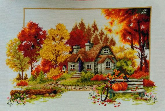 New Finished Completed Cross Stitch – Autumn scenery – L13 – Gülçin Yangınözü