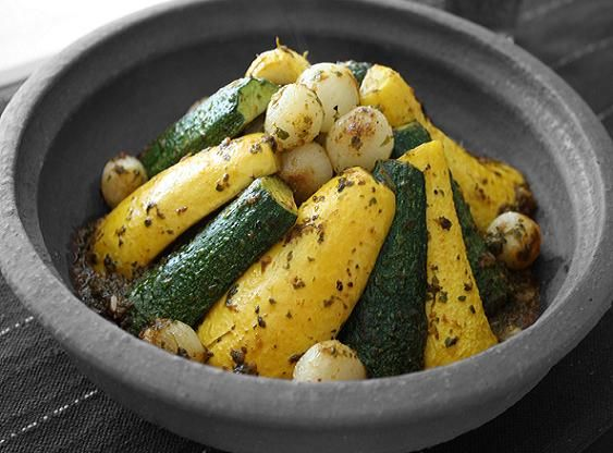 Vegetarian Tagine with Zucchini, Squash and Pearl Onions