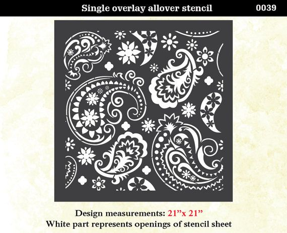 Paisley Flourish Lace Pattern Wall Room Decor Made by OMGstencils, $39.00