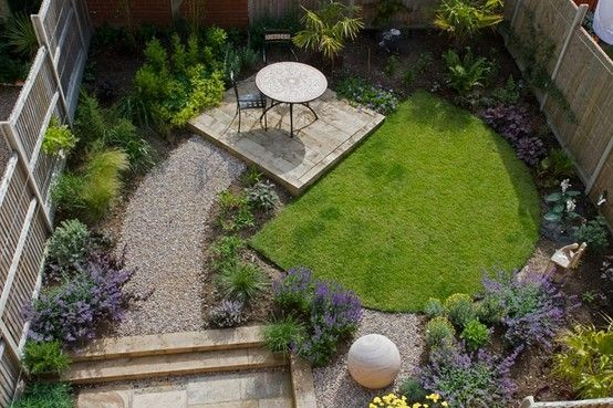 interesting backyard layout with stone, grass and plants (the 3 elements we want to include).  Obviously our dimensions are different, but the general idea is nice.