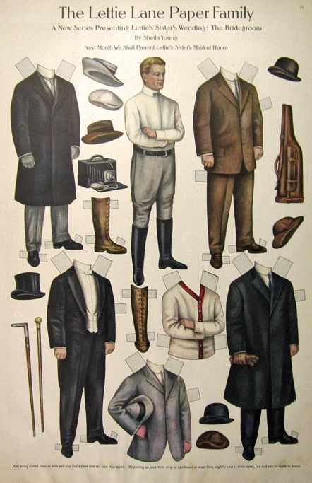 This is an original uncut Lettie Lane Paper Doll sheet removed from an old issue of The Ladies' Home Journal. From a new series presenting Lettie's Sister's Wedding, this is the Bridegroom, illustrated by Sheila Young. Printed on nicer, heavier stock.    Publication Year: 1909    Approximate Sheet Size (in inches): 10½ x 16