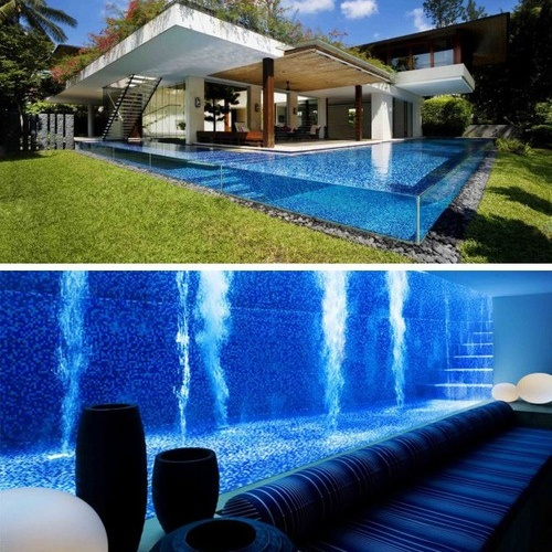 I don't like the modern design, but this is a stunning idea...inside basement window to the water!!