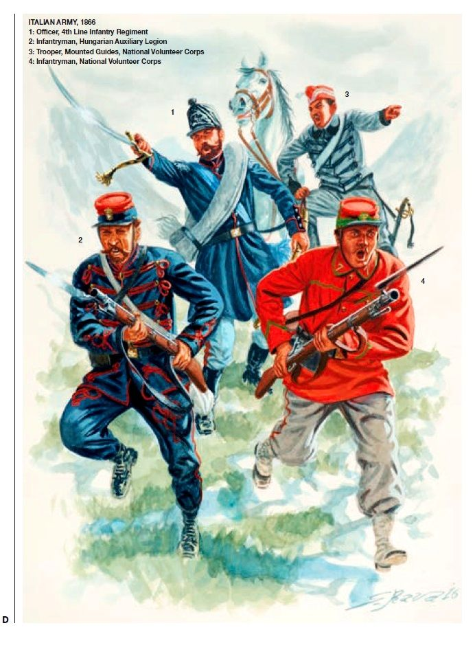 Italian Army,1866. 1:Officer,4th Line Infantry Regiment.2:Infantryman,Hungarian Auxiliery Legion.3:Trooper,Mounted  Guides,National Volunteer Corps.4:Infantryman,National Volunteer Corps.