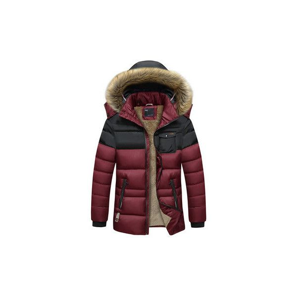 Outdoor Windproof Thicken Detachable Hood Mixed Color Jacket Coat (86 BAM) ❤ liked on Polyvore featuring men's fashion, men's clothing, men's outerwear, men's coats, wine red, mens red coat, mens fur collar coat, mens hooded coat, mens sport coats and mens sports coat