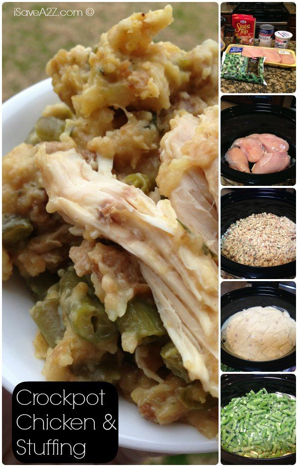 Crockpot Chicken and Stuffing Ingredients I tried this tonight, substituting chicken thighs for breasts and CA Medley Veggie blend for string beans...good, easy,   makes A LOT.