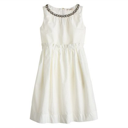 The perfect dress for all the grown-up places she goes. She'll love the shiny crystals at the neckline (who can resist built-in jewelry?). You'll love that it's completely machine washable. <ul><li>Straight silhouette.</li><li>Falls to knee.</li><li>Cotton.</li><li>Machine wash.</li><li>Import.</li><li>Online only.</li><li>Sizes 2 and 3 do not feature necklace design.</li></ul>