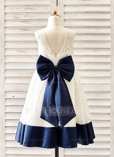 [US$ 59.99] A-Line/Princess Knee-length Flower Girl Dress - Lace Sleeveless Scoop Neck With Bow(s)/V Back