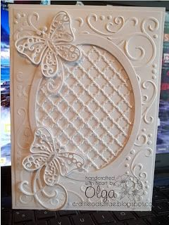 craftieodamae: Another White Butterfly  - new die from Spellbinders, Fancy Lattice, I love it, i'ts a little hard for me to cut out for some reason but so worth the extra work.  I'ts 5 x 7, Gina K 120 white card stock, liquid pearls are added in the lattice, I also used Les Papillions, Grand Ovals, Darice's Corner Scroll embossing folder and Heartfelt Creations HCD712 Bella Rose Die.