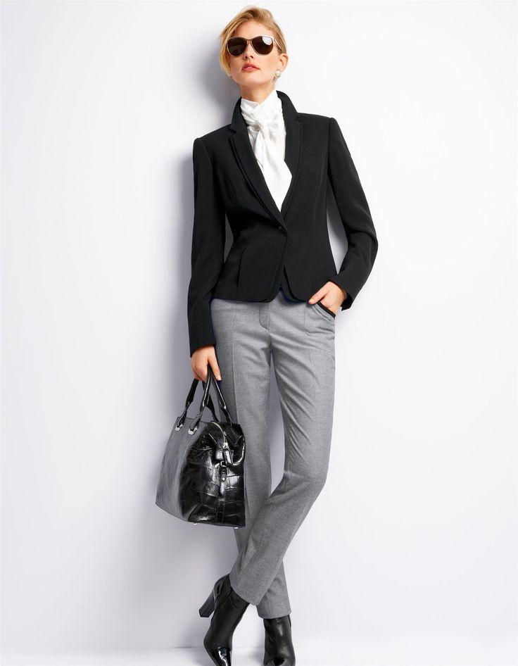 Pepita-Hose mit Bügelfalten in der Farbe weiß / schwarz - schwarz, weiß - im MADELEINE Mode Onlineshop