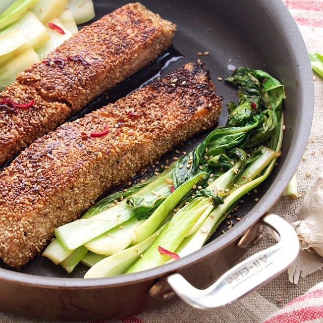 Sesame-crusted Salmon With Spicy Bok Choy