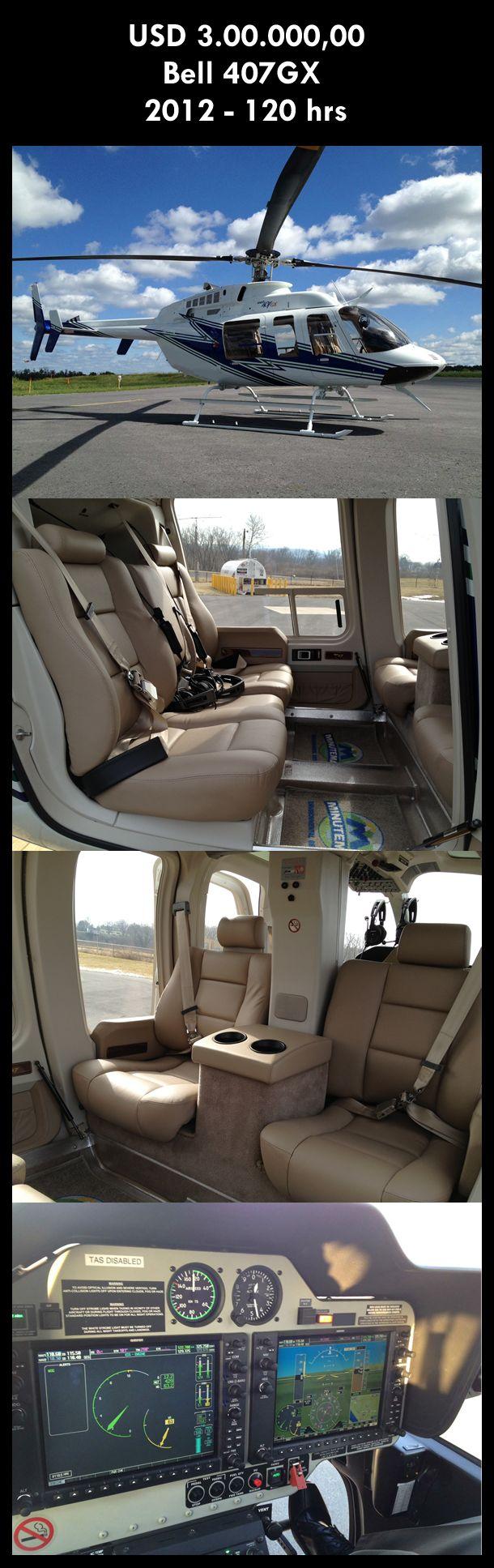 Aeronave à venda: Bell 407 GX , 2012, 120 hrs, USD 3.000.000,00. #bell #bell407 #bell407gx #bellgx #407 #airsoftanv #aircraftforsale #aeronaveavenda #pilot #piloto #helicoptero #aviation #aviacao #heli #helicopterforsale  www.airsoftaeronaves.com.br/H224