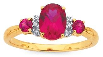 9ct Synthetic Ruby & Diamond Ring