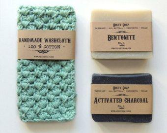BATH SET Soap and washcloth natural soap crochet by RightSoap