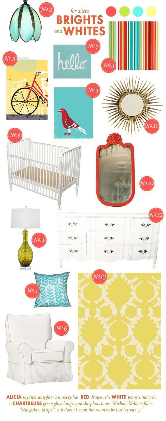 Love the idea of doing a white/neutral nursery with pops of primary colors.  Can you tell I'm obsessed with the mood boards on this website?