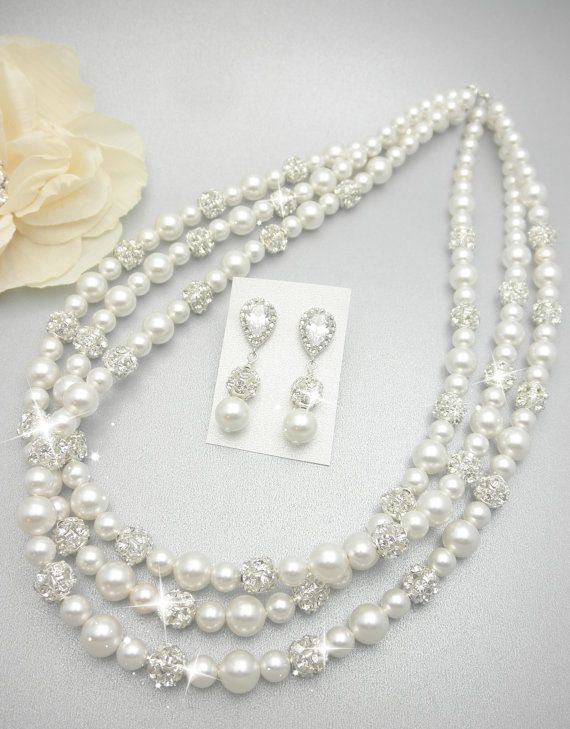 Triple Strand Rhinestone Necklace with Swarovski Pearls  // Wedding Day Pearls // Fireball // Wedding Day Jewelry  Pearl Bridal Necklace on Etsy, $98.00
