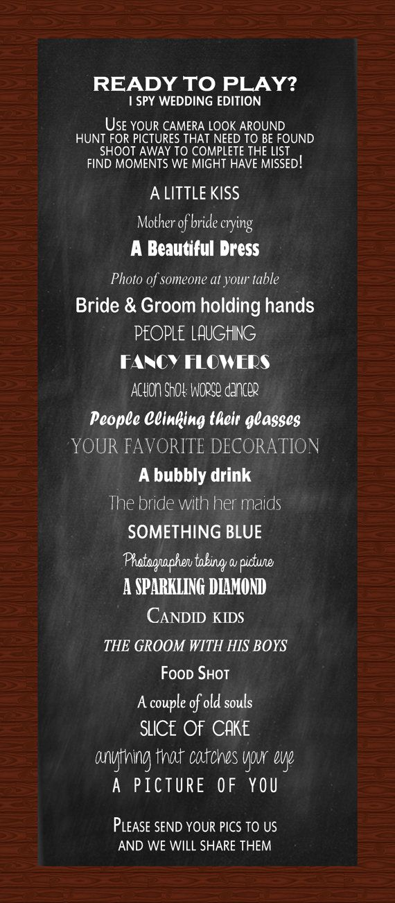 Hey, I found this really awesome Etsy listing at https://www.etsy.com/listing/167321729/i-spy-wedding-reception-game