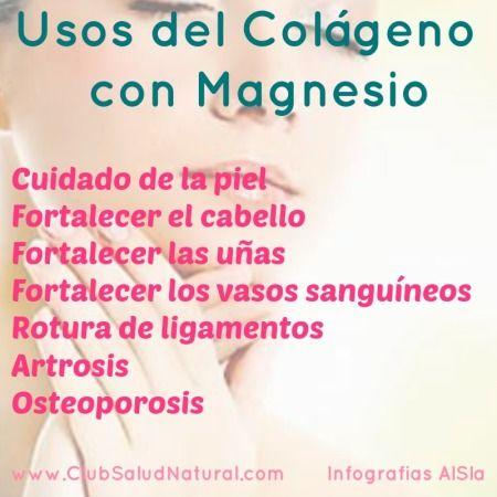 Cuidado de las Articulaciones con #Colageno y #Magnesio - Club Salud Natural  El colágeno con magnesio se utiliza normalmente para tratar los problemas derivados del desgaste de las articulaciones, los músculos, los ligamentos y los huesos.