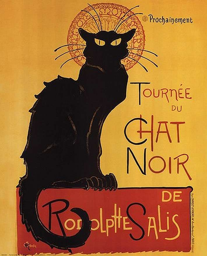 'The Journey of the Black Cat' by Rudolphe Salis. Vintage French Cabaret advertisement poster. Have this hanging in my living room.