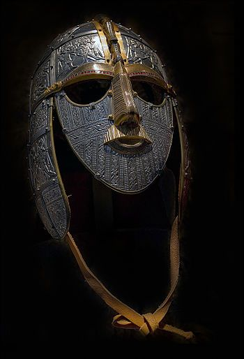 Replica of the helmet found at Sutton Hoo, in the burial of an Anglo-Saxon leader, probably a king, about 620 in the Early Middle Ages
