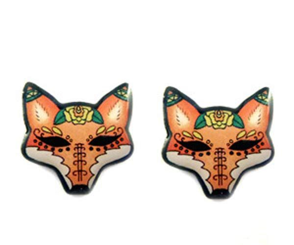 By @Jubly Umph  Created from an original illustration these tattoo-inspired #fox stud #earrings are made from solid stainless steel coated with resin.      They are hypo-allergenic...