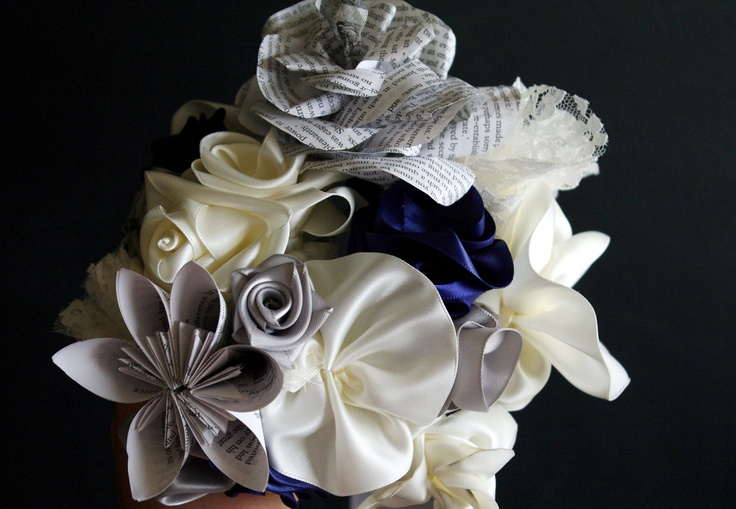 My handmade bouquet. Made with Ribbons, lace, and Pride & Prejudice flowers.