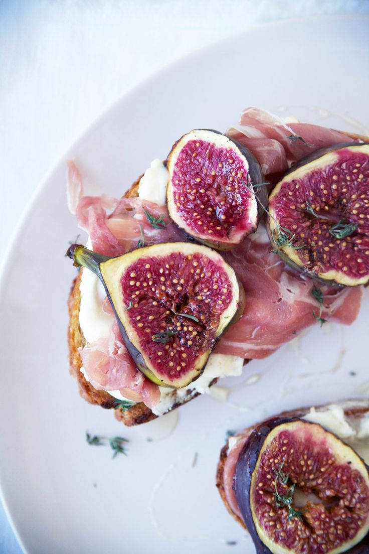 GOAT CHEESE, PROSCIUTTO AND FIG TARTINES   @andwhatelse