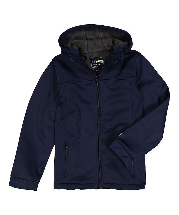 Navy Fleece-Interior Softshell Hooded Jacket - Toddler & Boys