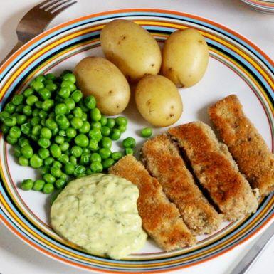 veganska fiskpinnar på tofu