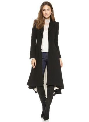 Others Black Long Long Sleeve Lapel Coats & Jackets
