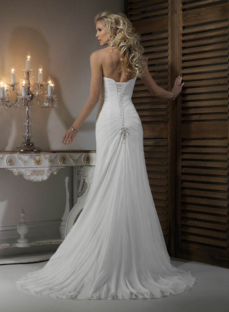 Chiffon Strapless Dipped Neckline A-line Wedding Dress - Wedding Dresses UK Online Shop