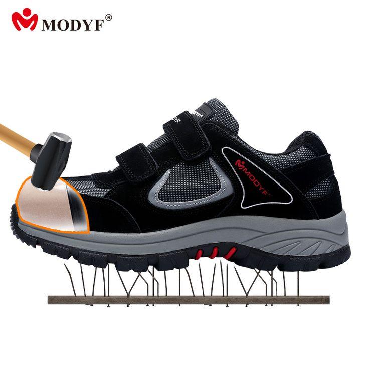 Modyf Men's Steel Toe Cap Safety shoes outdoor welding job boots Hook&Loop puncture proof hiking footwear #Affiliate
