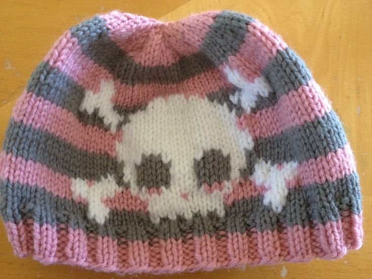 Knitted Skull Hat Pattern : Knit skull and crossbones baby hat. Im really happy with how this turned...
