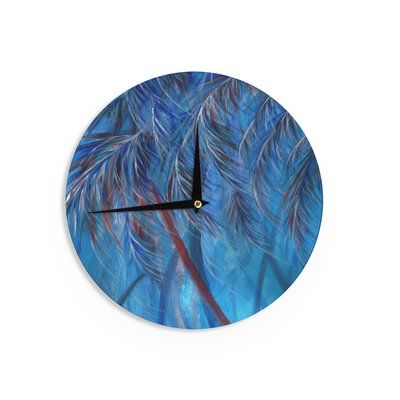 "East Urban Home Rosie Brown 'Red White Tropical' 12"" Wall Clock"