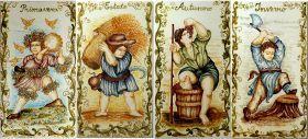 Decorative tiles in enamelled majolica depicting the four seasons. #madeinitaly #artigianato #majolica #maiolica