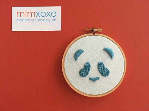 Panda embroidery KIT by mlmxoxo. modern embroidery kit.