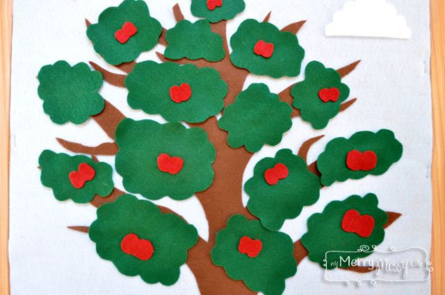 DIY Felt Board to Teach the Seasons and Weather to Young Children - Add Apples to Your Tree during Apple Season