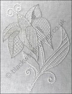 Whitework Projects - Pulled work Lily  - a simple piece of pulled work for the beginner. www.blackworkjourney.co.uk