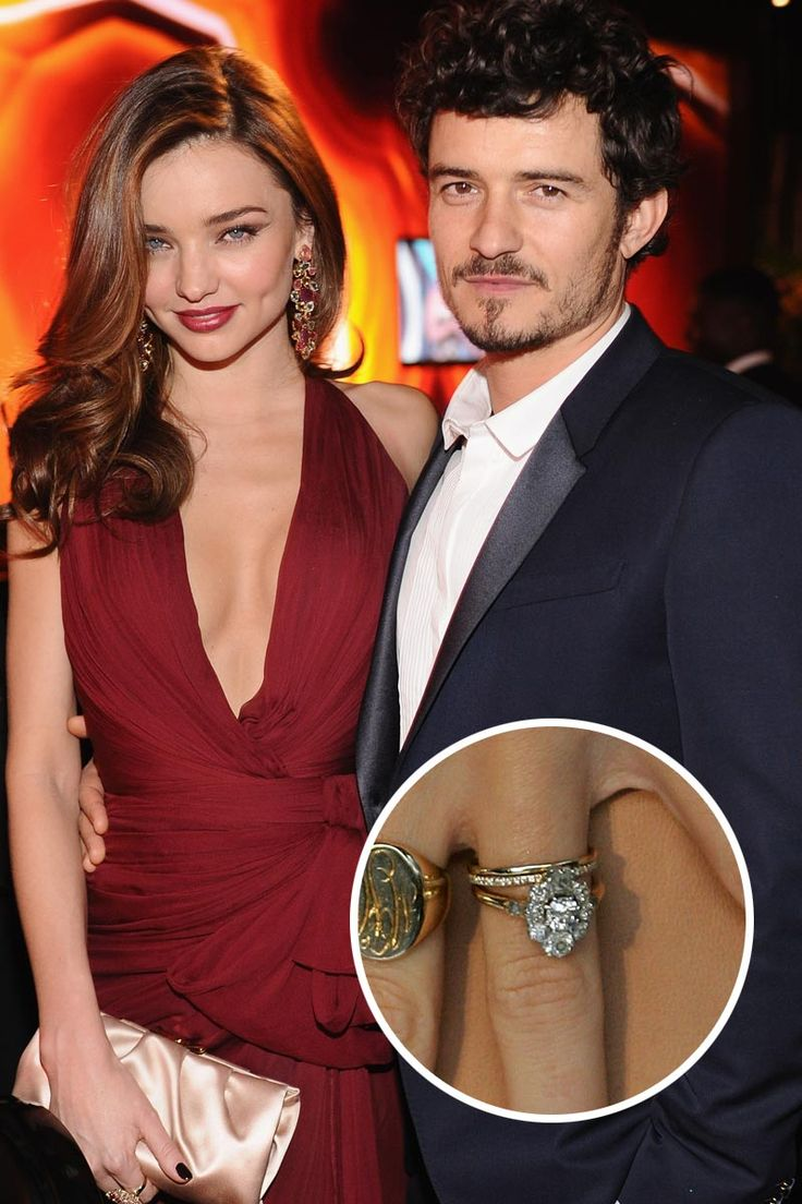 Victoria's Secret model, Miranda Kerr wed actor, Orlando Bloom in July of 2010 with this pear-shaped, diamond engagement ring. #celebrity #engagement #rings
