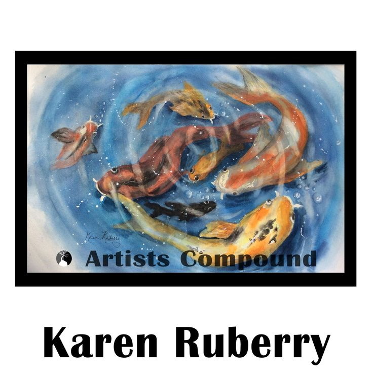 Title: Koi Party  By: Karen Ruberry  Medium: Giclée Print  Size: 20x26  Price: $275.00  Direct purchase link: spreesy.com/ArtistsCompound/83    #artforsale #koi #fish #water #watercolor #art #gallery #Maryland #ArtistsCompound #pond #painting