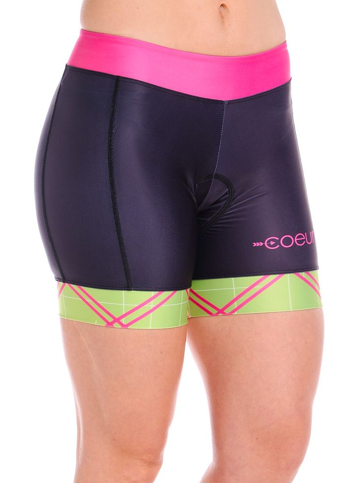 "Women's Cycling Shorts in Pink Tartan Design. The ""tummy tuck"" is the best part!"