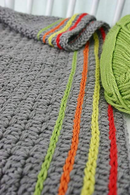 Crochet: cute way to add lines of color to a blanket or scarf.--Love this idea because I adore gray but hate making anything out of bland colors.