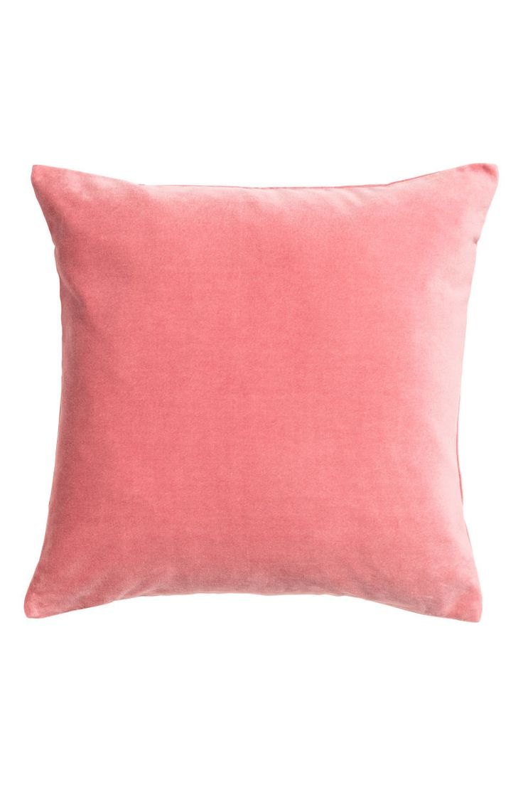 Pink. Cushion cover in cotton velvet with concealed zip.