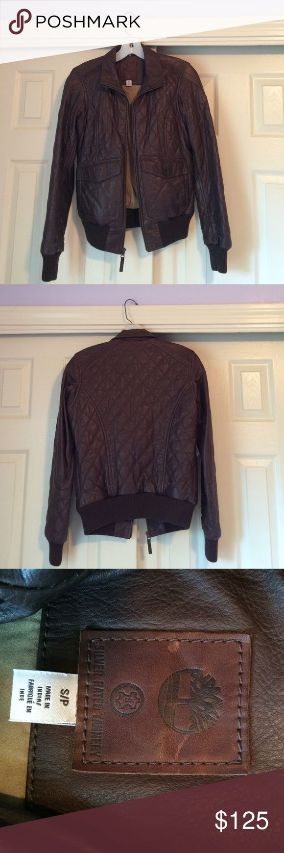 Timberland Leather Jacket Gorgeous brown quilted leather jacket. Bomber-style. Size small. New without tags, never worn. Timberland Jackets & Coats