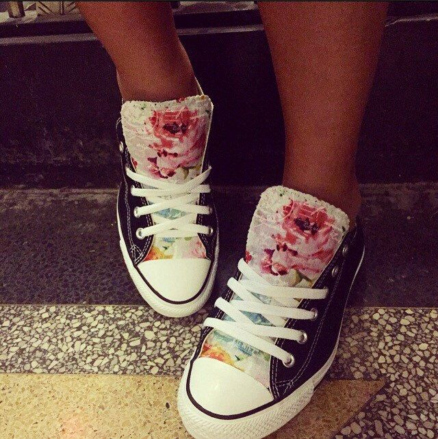 Floral Converse Shoes by LoveChuckTaylors on Etsy https://www.etsy.com/listing/248546289/floral-converse-shoes
