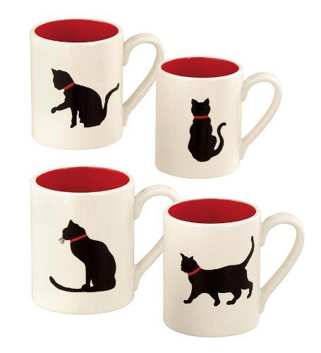 Set of 4 Black Cat Ceramic Coffee Mugs