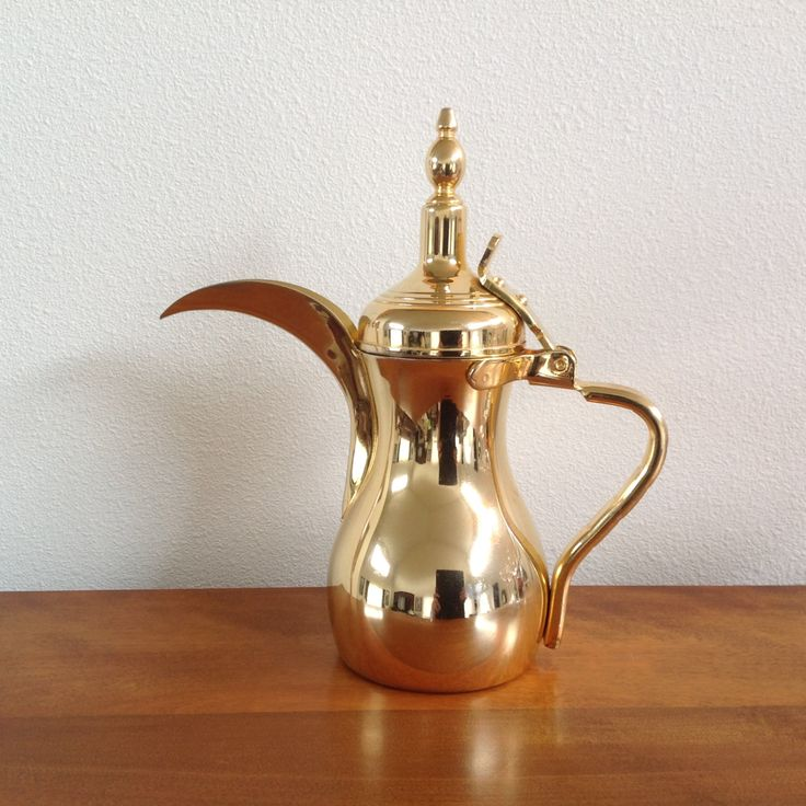 Dallah Arabic Coffee Pot with Long Crescent Spout - Stainless Steel with Brass Plating by BucketListGarnishes on Etsy